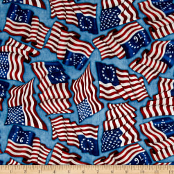 Home Of The Brave American Flags Blue Fabric