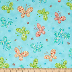 Trust In You Butterflies Aqua Fabric
