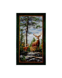 "Deer Mountain Deer 23.5"" Panel Evergreen"