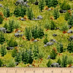 QT Fabrics Deer Mountain Tree Landscape Green Fabric