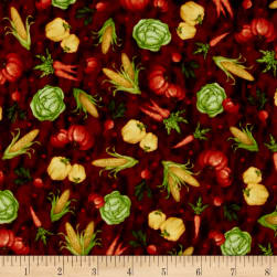 Farmer's Market Tossed Veggies Dark Brick Fabric