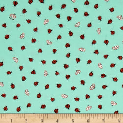 Ink & Arrow Little Buggers Flannel Lady Bugs Aqua