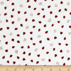 Ink & Arrow Flannel Littler Buggers Flannel Lady Bugs White Fabric