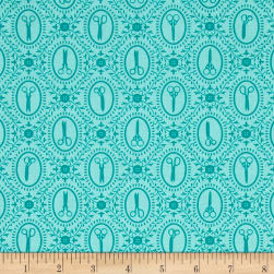 Cute as a Button Scissors Cameos Aqua Fabric