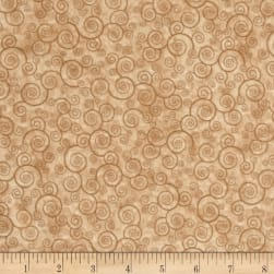 QT Fabrics Harmony Flannel Curly Scroll Camel Fabric