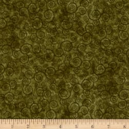 QT Fabrics Harmony Flannel Curly Scroll Moss Fabric