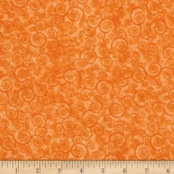 Harmony Flannel Curly Scroll Tangerine Fabric