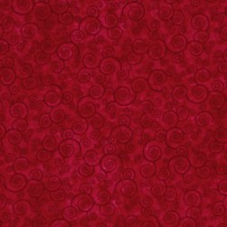 Harmony Flannel Curly Scroll Red Fabric