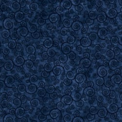 QT Fabrics Harmony Flannel Curly Scroll Slate Blue