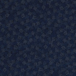 Harmony Flannel Squares Navy Fabric