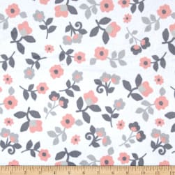 Minky Kashmir FLORAL Whitel/Coral Fabric