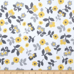 Minky Kashmir Floral Grey/Yellow Fabric