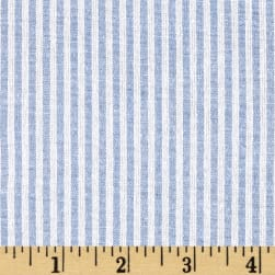 Stretch Seersucker Stripe Light Blue/White Fabric