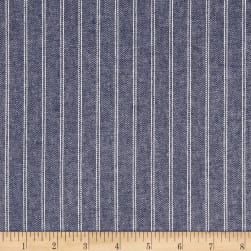 Stripe Herringbone Chambray Indigo Fabric