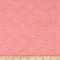 Bud Floral Cotton Eyelet Pink Fabric