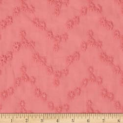 Cotton Vine Floral Eyelet Coral Pink Fabric