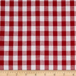 Lawn Gingham Check Red/White Fabric