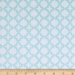 Kaufman Little Prints Double Gauze Trellis Sky Fabric