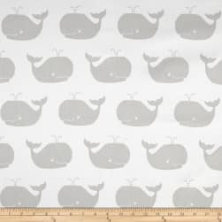 Premier Prints Whale Tales Twill White/French Grey Fabric