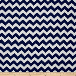 Rayon Challis Zig Zag Royal Blue/White Fabric