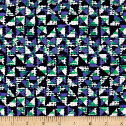 Rayon Challis Geometric Purple/Green