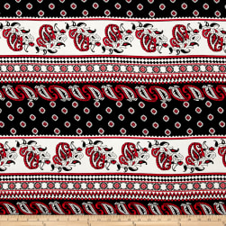 Rayon Challis Bohemian Paisley Red/Black Fabric