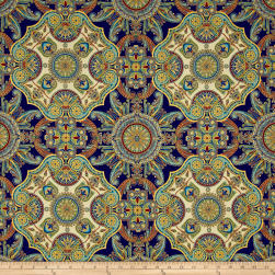 Kaufman Valley of the Kings Metallic Large Medallion Spice Fabric