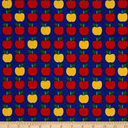 Kaufman Back To School Apples Blue