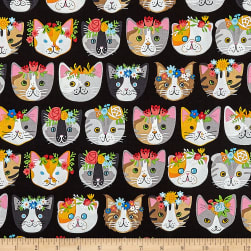 Kaufman Whiskers & Tails Dressy Kitty Black Fabric