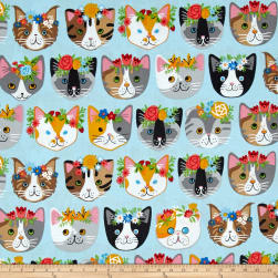 Kaufman Whiskers & Tails Dressy Kitty Blue Fabric