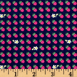 Kaufman Sevenberry Petite Classics Strawberries Navy Fabric