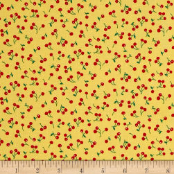 Kaufman Sevenberry Petite Classics Cherries Yellow Fabric