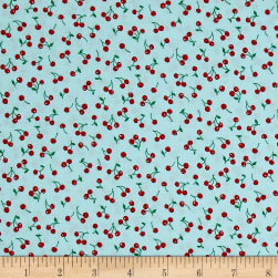Kaufman Sevenberry Petite Classics Cherries Aqua Fabric