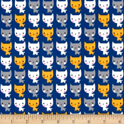 Kaufman Suzy's Minis Cats Navy Fabric