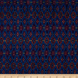 Polyester Jersey Knit Rainbow Diamonds Teal Fabric