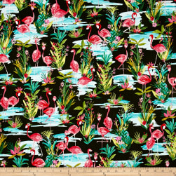 Flamingos By The Pond Dark Green Fabric
