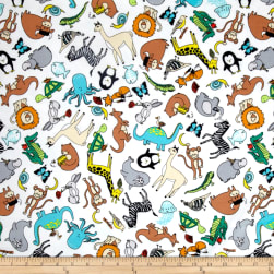 Animal ABC's Flannel Tossed Animals Multi Fabric