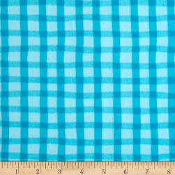 Animal ABC's Flannel Gingham Turquoise Fabric