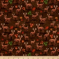 Forest Deer Brown Fabric