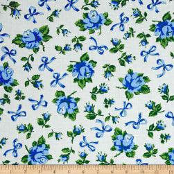 First Blush Roses and Bows Cream/Blue Fabric
