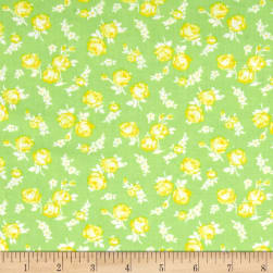 First Blush Mini Roses Lime Fabric