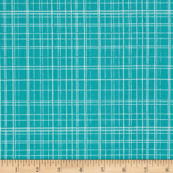 Maribel Fine Line Plaid Turquoise Fabric