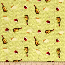 Go Ahead & Wine Toss Light Olive Fabric