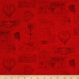 Vintage Valentine Tonal Light Red Fabric