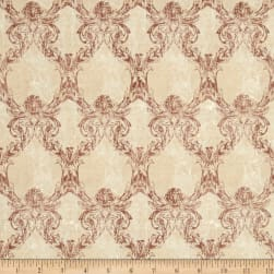 Time Traveler's Memoirs Damask Light Pink Fabric