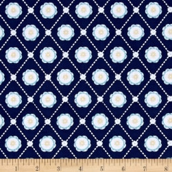 Buttercream Geometric Light Navy Fabric