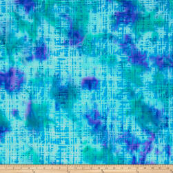Hudson Bay Rayon Challis Abstract Plaid Blue/Green Fabric