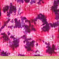 Hudson Bay Rayon Challis Abstract Plaid Pink/Purple Fabric