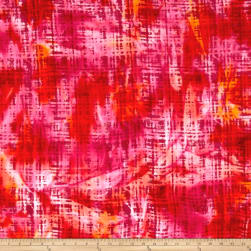Hudson Bay Rayon Challis Abstract Plaid Red/Orange/Yellow Fabric