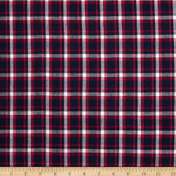 Hudson Bay Madras Plaid Navy/Pink/White Fabric